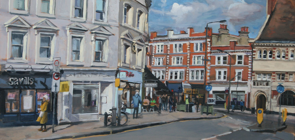 THICK COATS AND COFFEE   2017 | oil on board | 60x30cm  SOLD