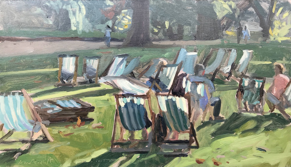"DECK CHAIR BATHERS, ST JAMES' PARK   2018 | oil on panel | 8X14""  RESERVED"