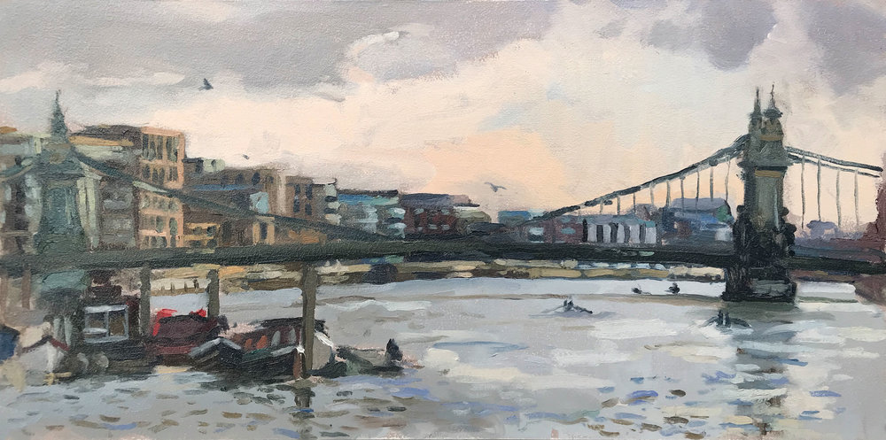 "CRIES FROM THE COXSWAIN, HAMMERSMITH   2018 | oil on panel | 10X20""  £680 (unframed)"