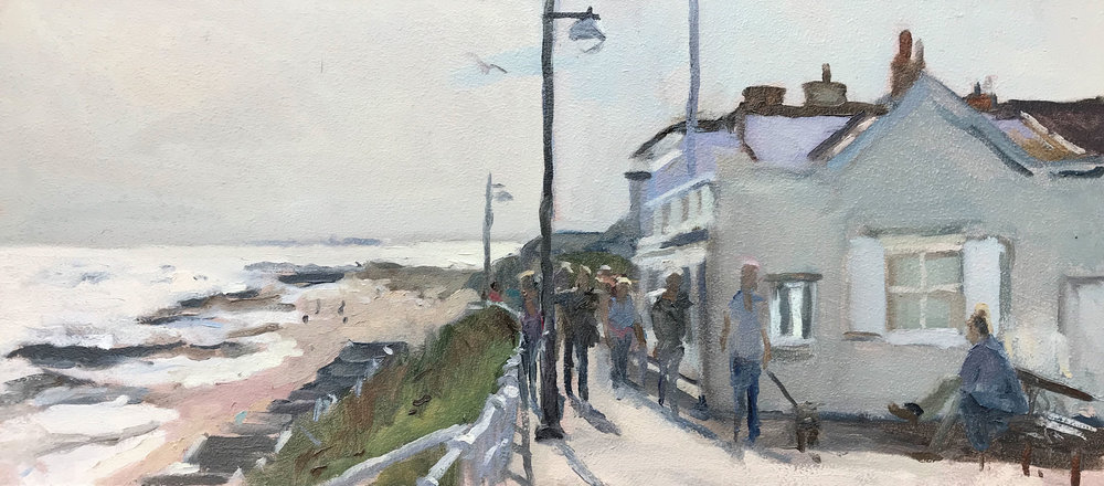 MIDDAY ON THE PROMENADE, SOUTHWOLD   2018 | oil on panel | 50X20cm  £625 (unframed)