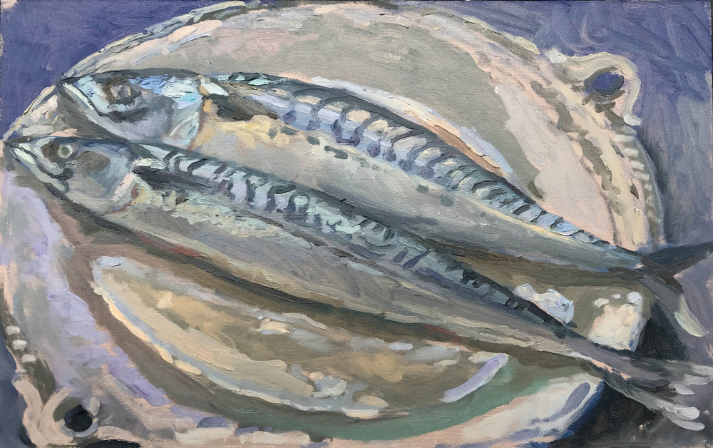 "SOUTHWOLD MACKEREL   2018 | oil on panel | 10x16""  £470 (unframed)"