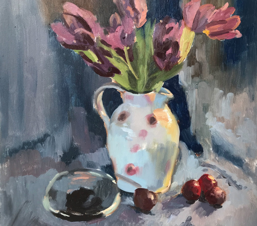 "TULIPS, PLUMS AND A GLASS DISH   2019 | oil on panel | 16""X16""  RESERVED"