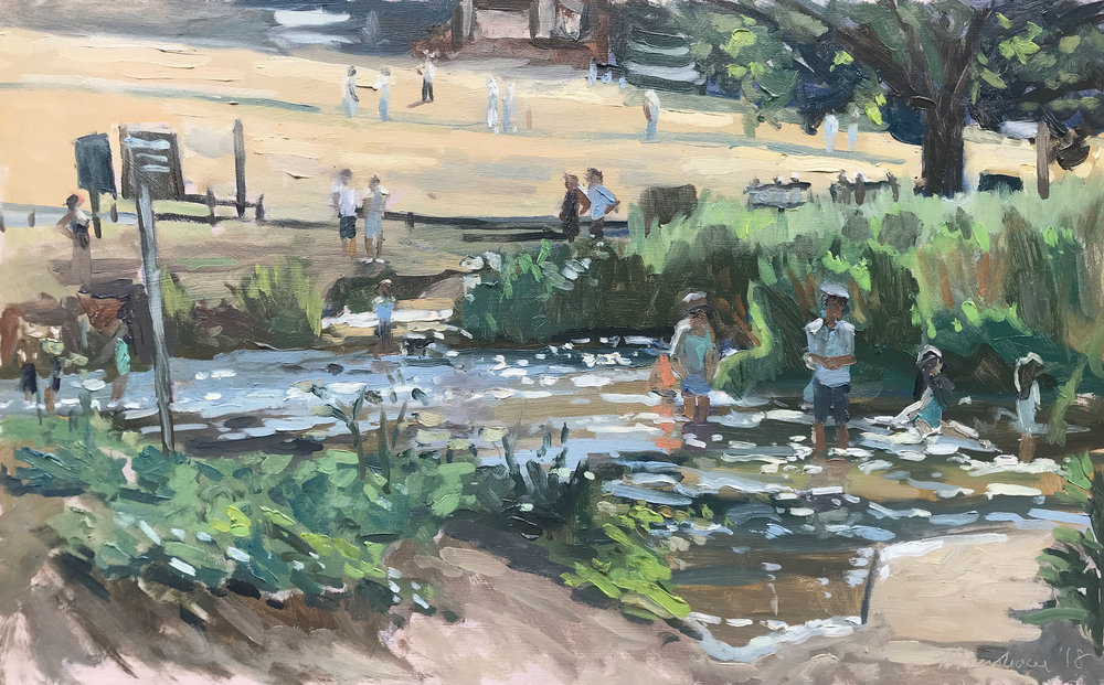 'Paddlers and cricketers, Tilford' £695 10x16""