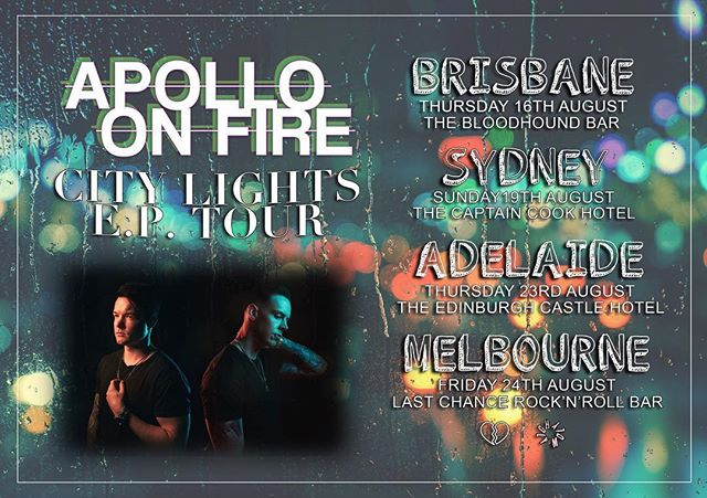 Our City Lights E.P Tour finishes up tonight in Melbourne.  We're super excited to be playing @thelastchancerockandrollbar with @kodiakgalaxy and @bodycorporateonline. Hoping to see all the hometown fam out singing along. 🌹🌹