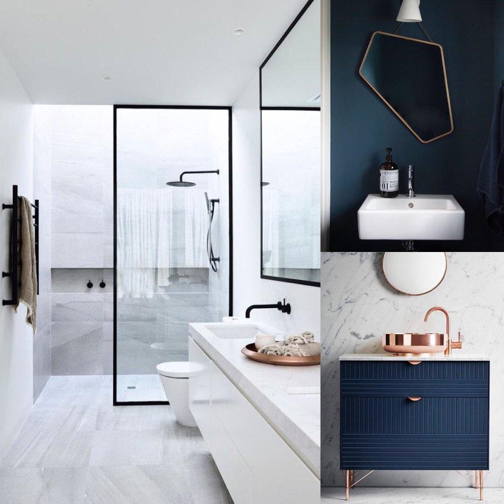 Salle de bain - Pour les pièces d'eau : elles sont généralement associées à des teintes froides comme le bleu ou le vert (...si vous voulez sortir du blanc, gris ou taupe)