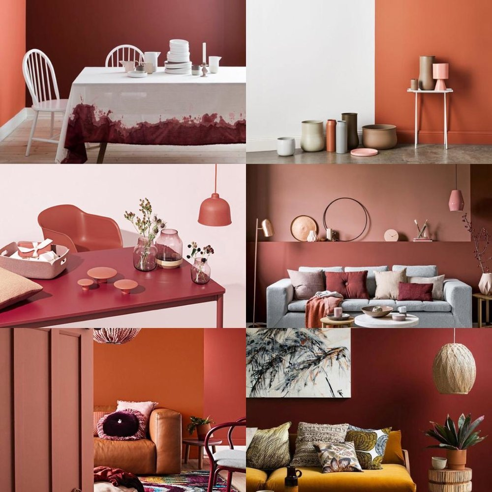 Salon - Dans le salon : la tendance 2018 est au brun cachemire, cuivre, terracotta, pour une ambiance chaleureuse, cocooning. Reste à trouver le juste équilibre, l'harmonie entre les couleurs vives et douces.