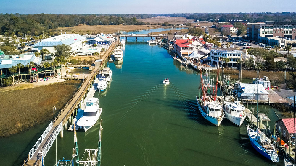 Winter in Shem Creek (notice the brown marsh grass. In the summer, it's green)