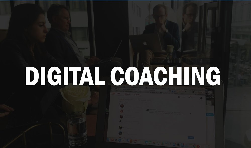 One-to-one coaching — from digital makeovers to curated content and engagement ideas for CEOs and senior executives.