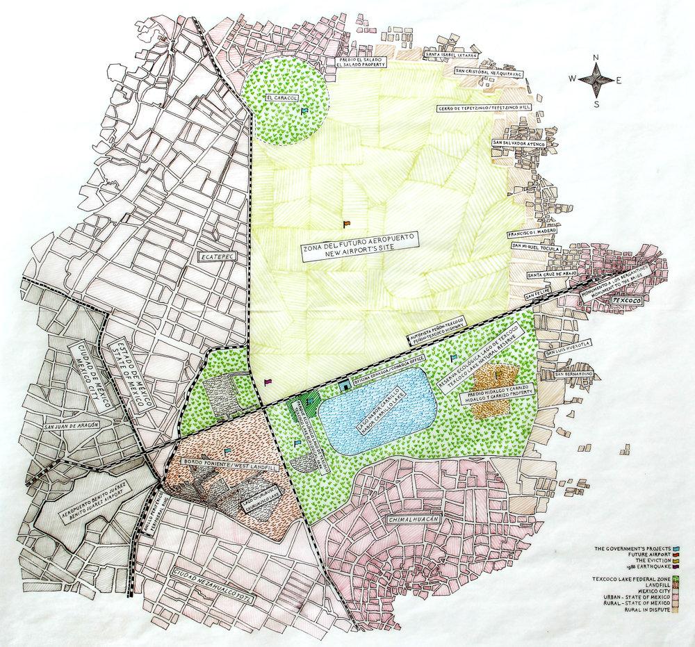 Mapa del lago de Texcoco hacia 2016