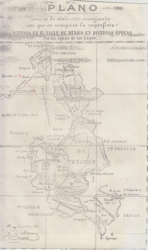 Lagos del Valle de México hacia 1500, resaltando el área que ocupa el Distrito Federal (Ciudad de México). Cortesía de Edgar Morales.    Mexico Valley's lakes circa 1500, highlighting Mexico City's current area. Courtesy of Edgar Morales.