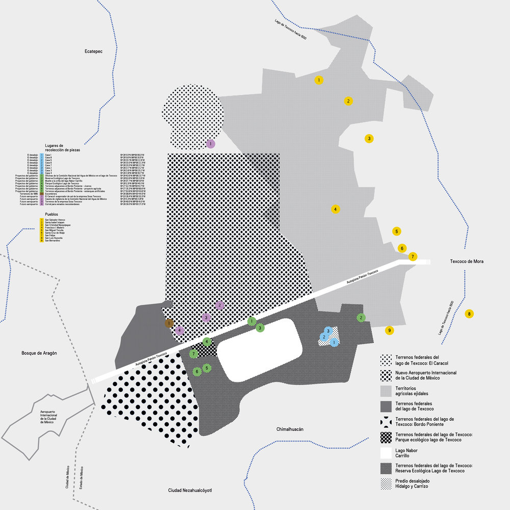 Sitios de recolección de piezas para el Museo Animista del Lago de Texcoco, particiones territoriales de la zona lacustre, área de construcción del Nuevo Aeropuerto Internacional de la Ciudad de México y su zona de influencia hacia 2018.  Diseñado por Laboratorio de Publicaciones (ENES, UNAM).