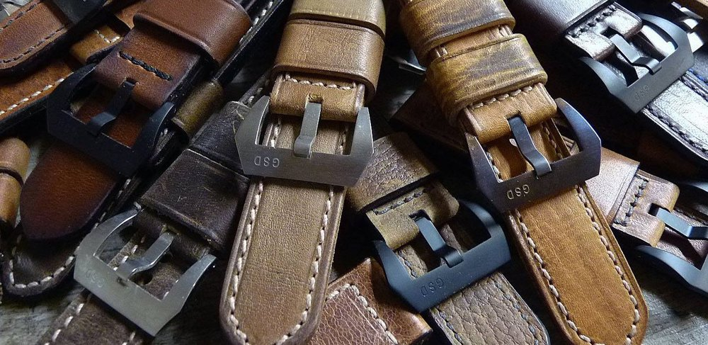 An assortment of straps made by Greg Stevens Design