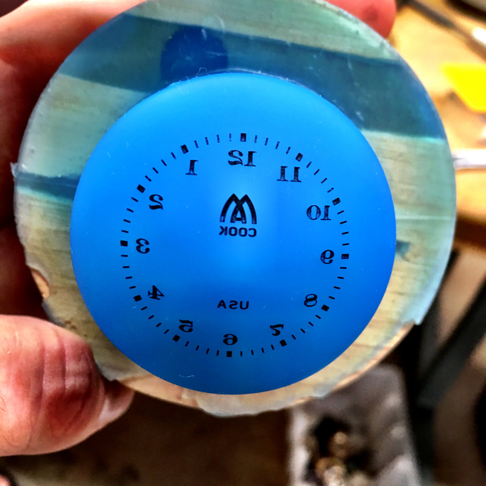 The pad-printing balloon used to apply numerals to the dials.