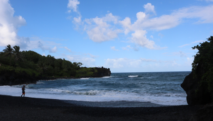 Road to Hana Mile Marker 32 is Pa'iloa Beach also know as Black Sands Beach at Wai'anapanapa State Park in Maui, Hawaii