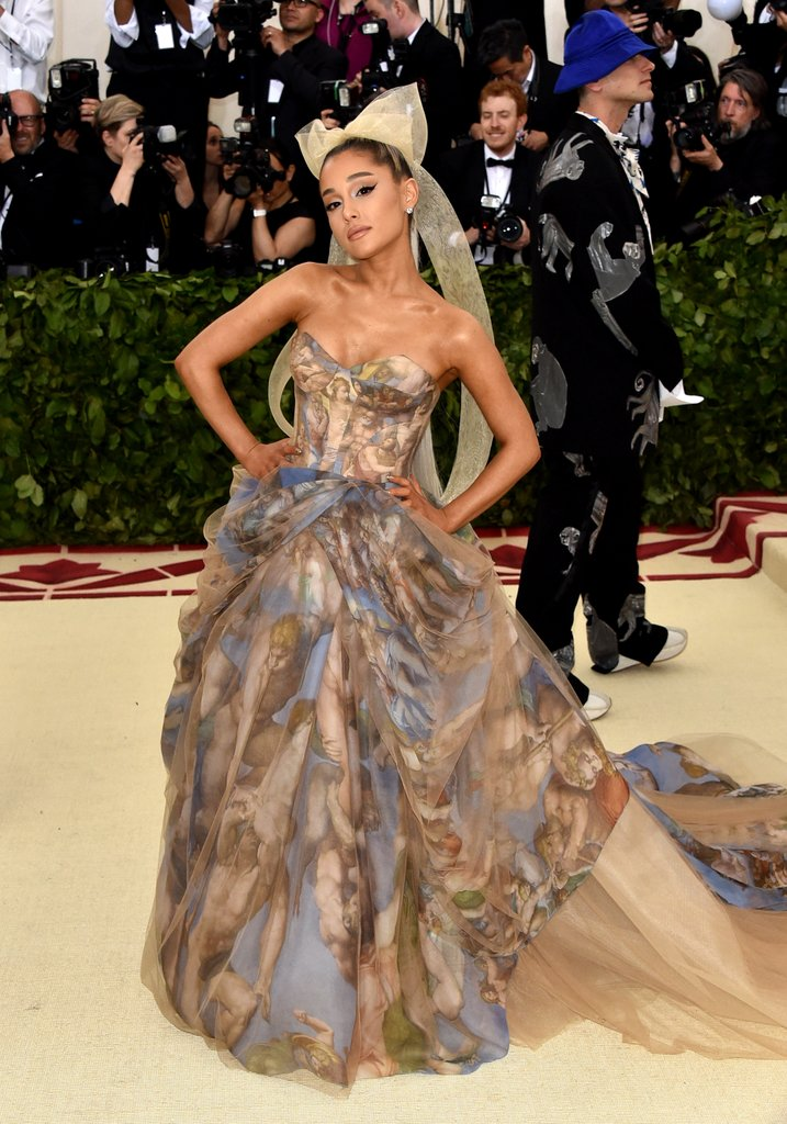 Ariana Grande wowed in a gown by  Vera Wang inspired by Sistine Chapel Last Judgement