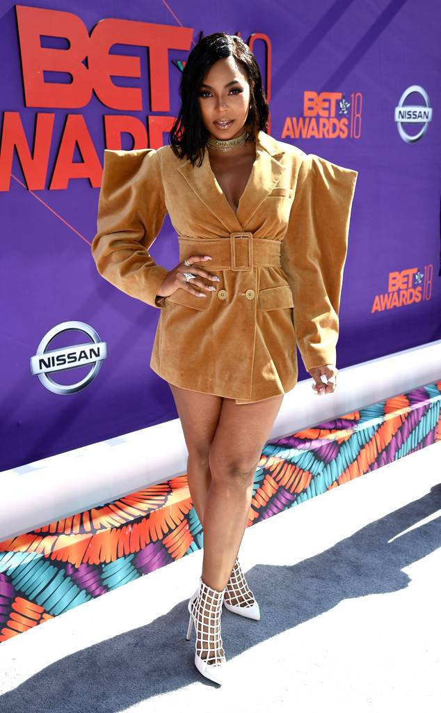 Ashanti may have possibly been the worst dressed on the red carpet. This pointed shoulder frock is atrocious. Some trends need to be left in the past.