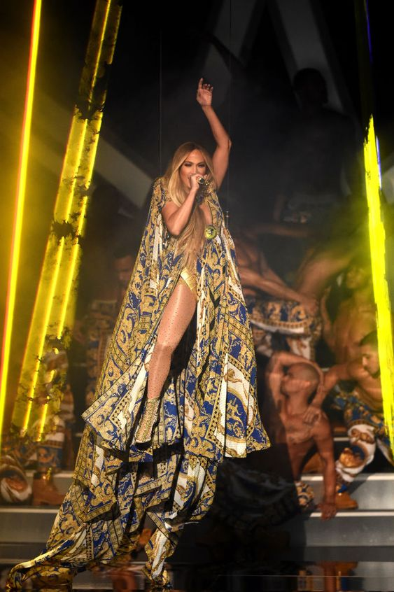 Jennifer Lopez at the 2018 VMA's wearing Versace