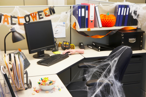 Decorate Your Desk or Cubical - Get some cute figurines for your desk, some cobwebs to hang and pumpkin! On Halloween, you could wear a cute festive headband to work. Not all offices let you celebrate so just pick a few tasteful and fun items you can actually use!