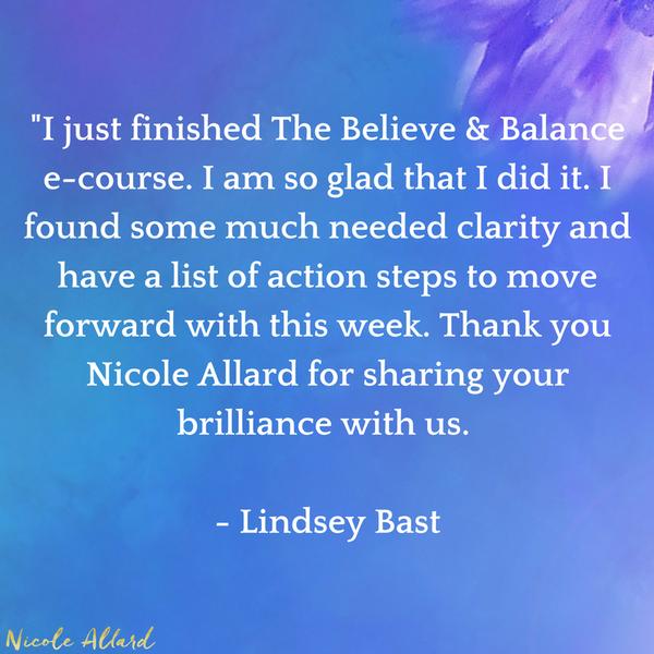 Believe & Balance E-Course Testimonial