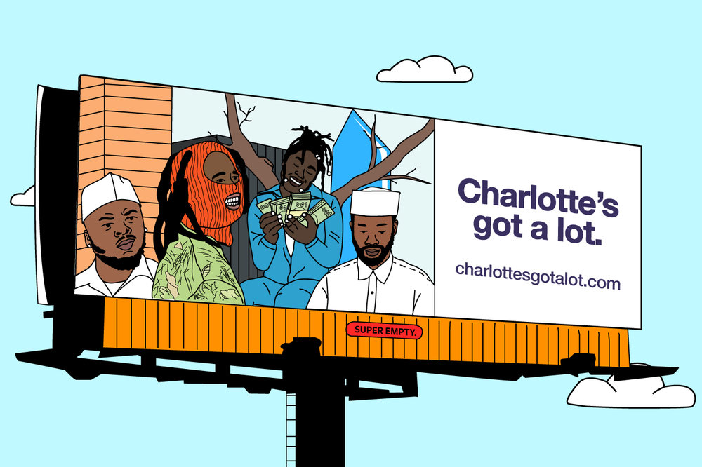 ©Super Empty illustration. Elevator Jay, Deniro Farrar, Cyanca and Lute as the face of Charlotte's newest tourism campaign.