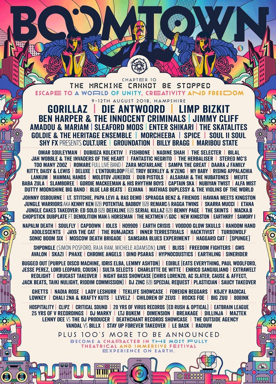 HEADLINERS: Gorillaz, Die Antwoord, Limp Bizkit  WHEN & WHERE: 9-12 August 2018, Winchester, UK