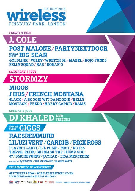 HEADLINERS: J. Cole, Stormzy, DJ Khaled & Friends  WHEN & WHERE: 6-8 July 2018, London, UK