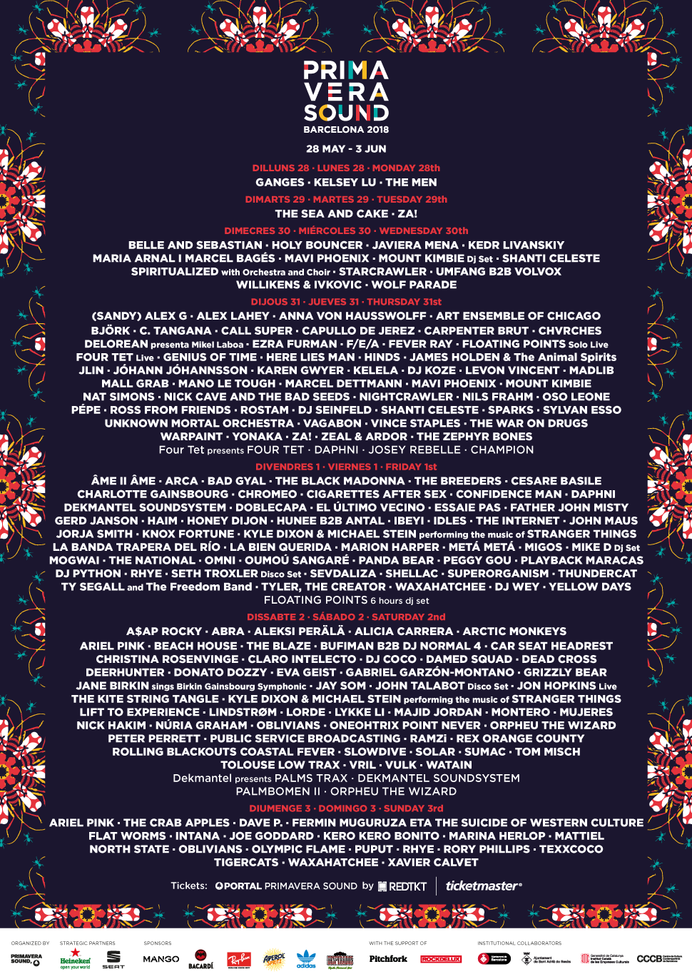 HEADLINERS: Arctic Monkeys, A$AP Rocky, Björk, Nick Cave and the Bad Seeds  WHEN & WHERE: May 28 - June 3 2018, Barcelona
