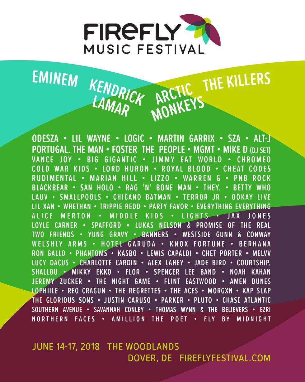 HEADLINERS: Eminem, Kendrick Lamar, Arctic Monkeys  WHEN & WHERE: June 24-17 2018, Dover, DE
