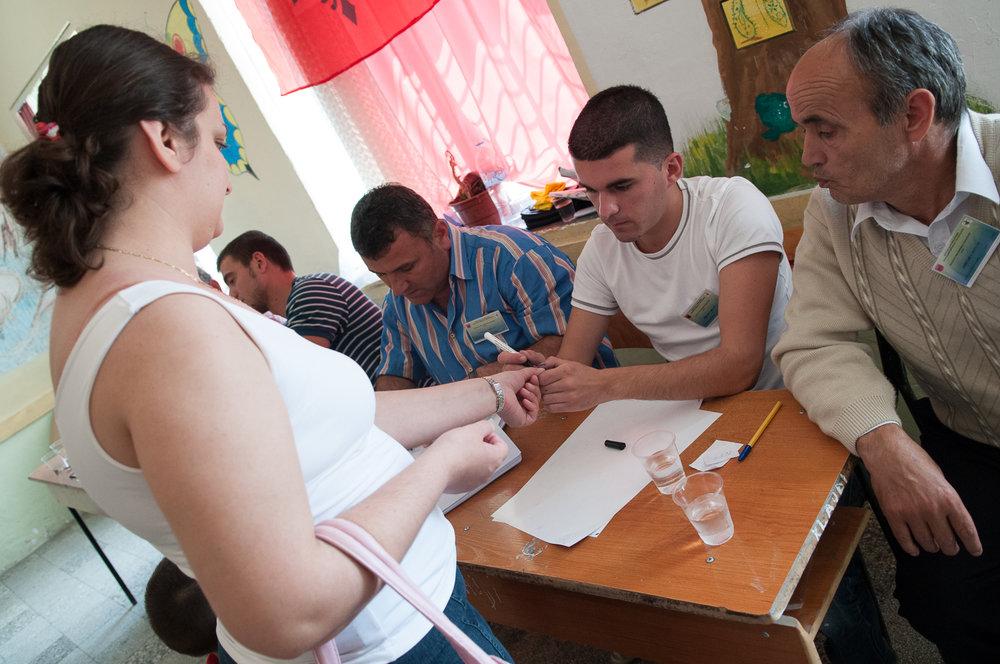 Voter, 2009 parliamentary elections, Tirana, Albania