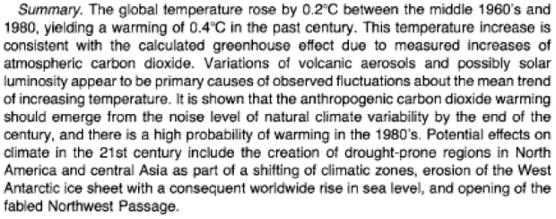"Chart 1.   Abstract of ""Climate Impact of Increasing Atmospheric Carbon Dioxide"", by J. Hansen, D. Johnson, A. Lacis, S. Lebedeff, P. Lee, D. Rind, and G. Russell,  Science ,  213 , 957-966, 1981."