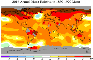 Fig. 2.  Temperature anomalies in 2016 relative to 1880-1920 base period.