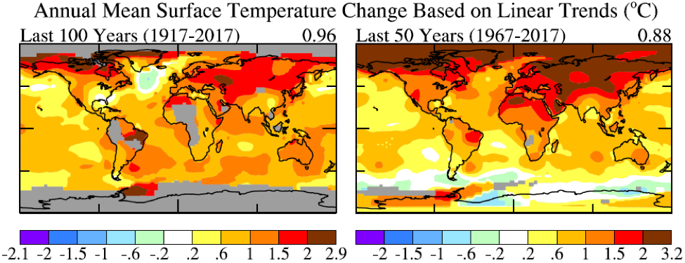 Fig. A3.   Global temperature in the past 100 and past 50 years based on local linear trends.
