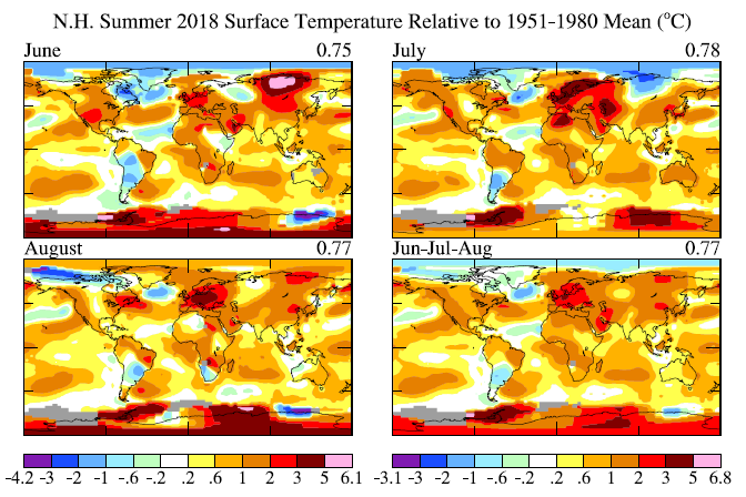 Figure 1. Surface temperature anomalies for the past three months.