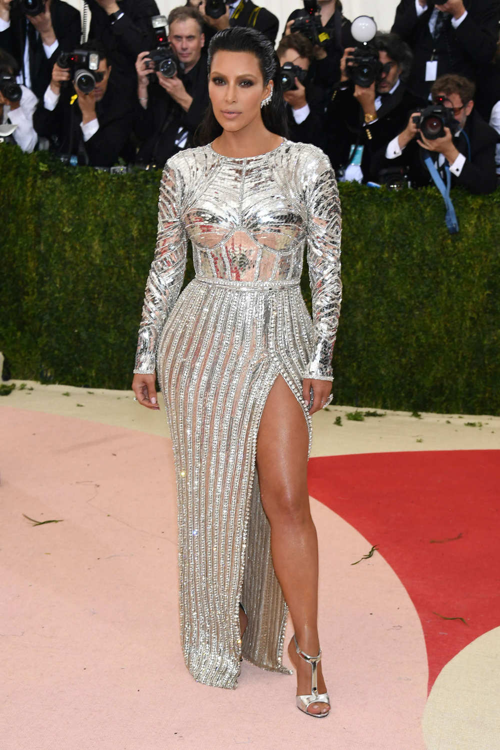 Kim Kardashian in Balmain at the Met Gala 2016.