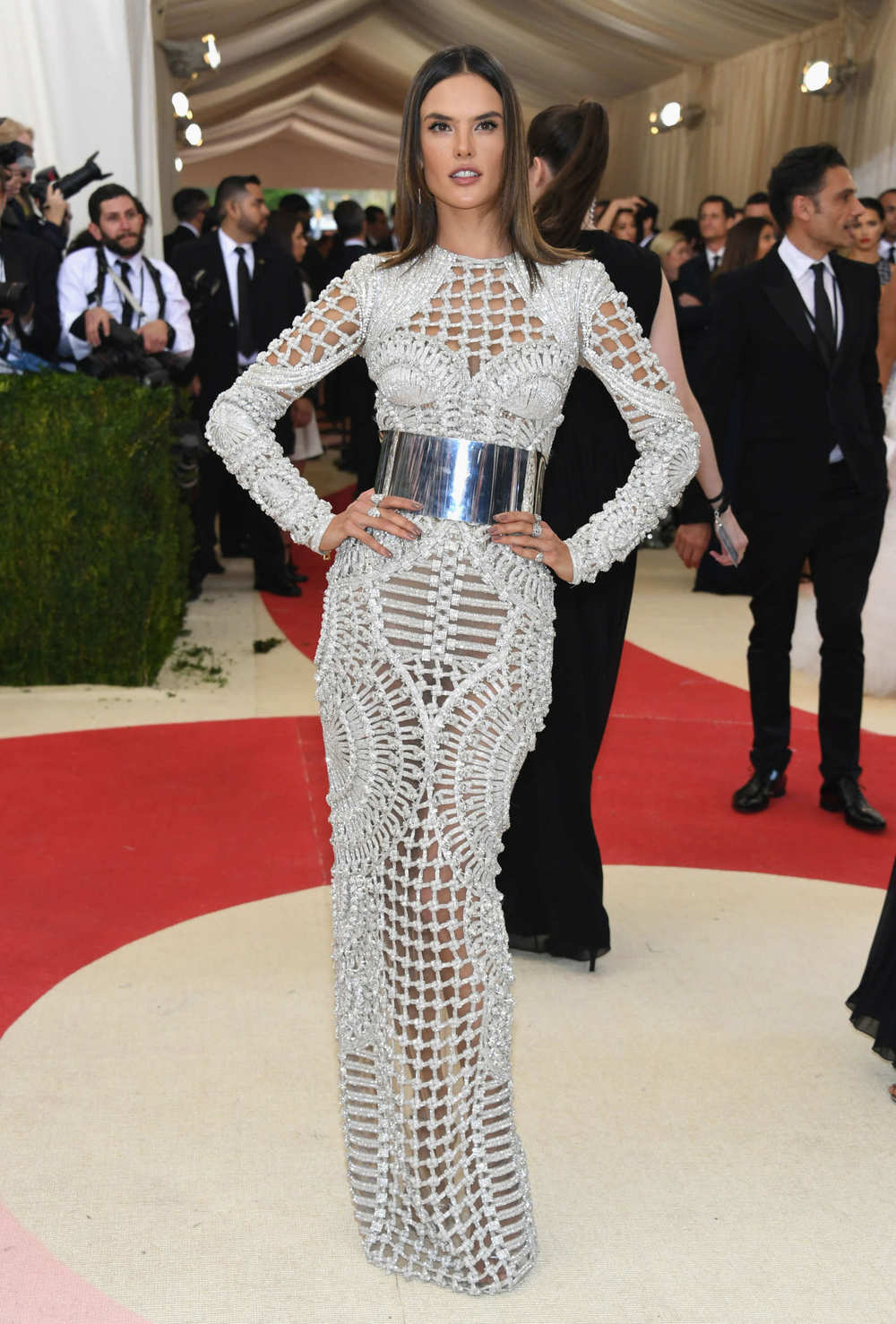 Alessandra Ambrosio in Balmain at the Met Gala 2016.
