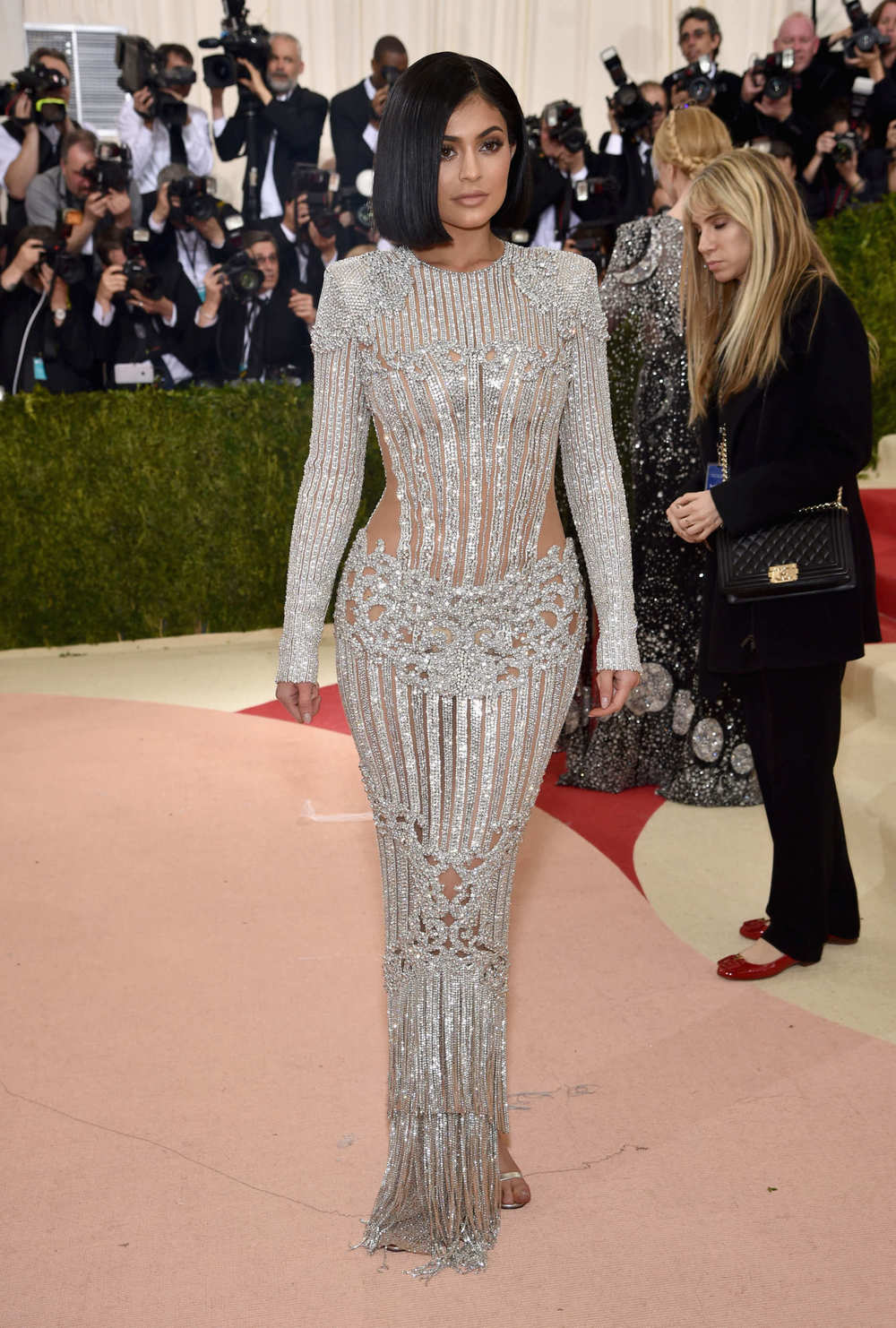 Kylie Jenner in Balmain at the Met Gala 2016.