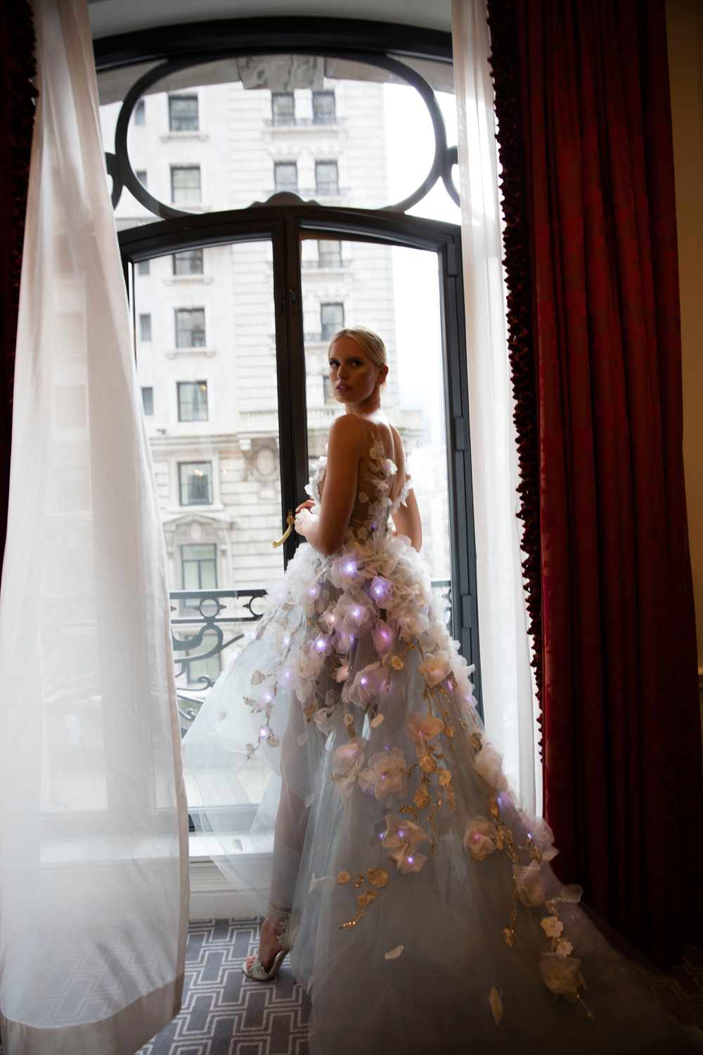 Karolina Kurkova in a Marchesa gown with flowers that light up.