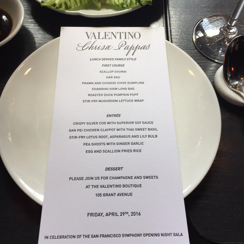 Valentino luncheon to celebrate the San Francisco Symphony Opening Night Gala - The menu.