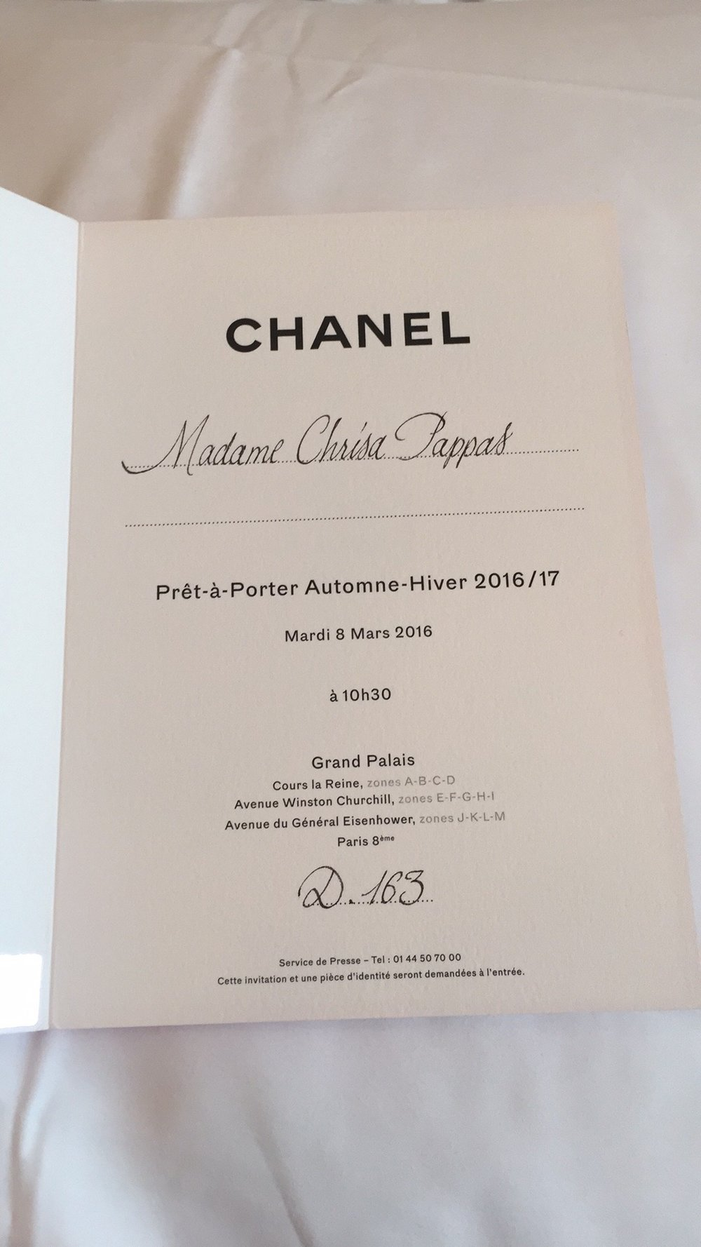 Paris Fashion Week Chanel Fall 2016 Invitation.