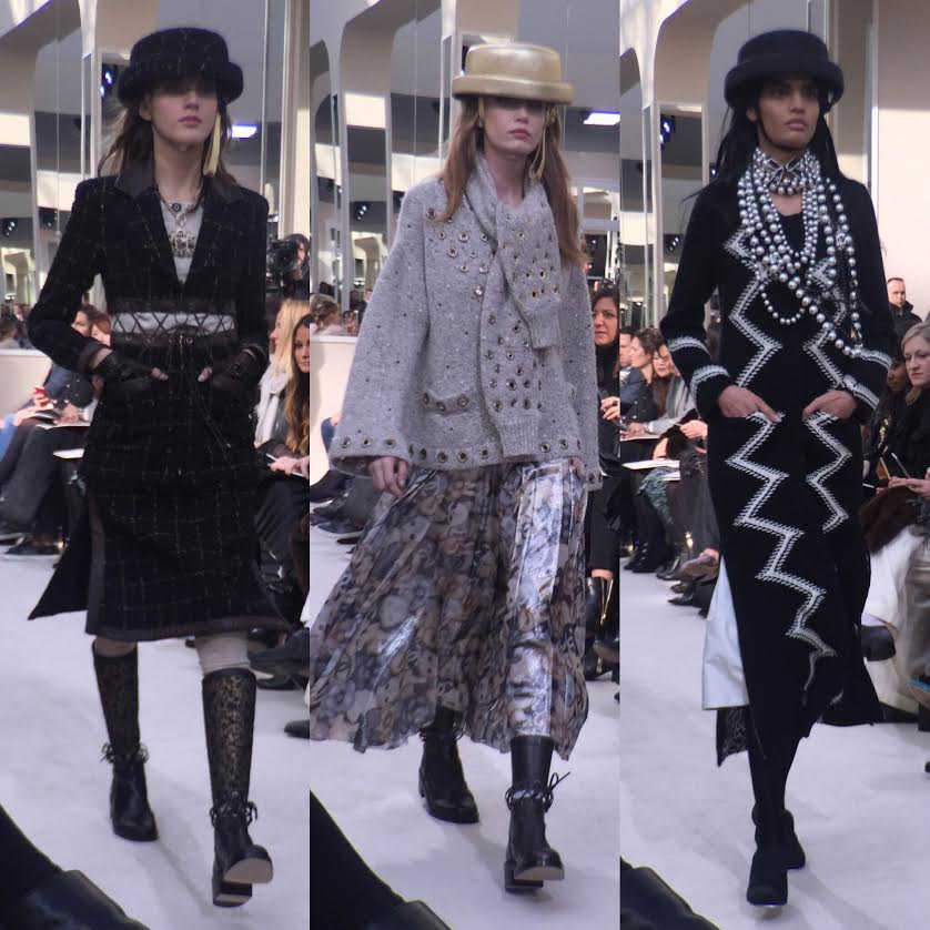 Pearls were layered in true Chanel style and several pieces in the collection hinted at an equestrian theme