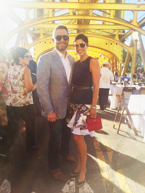 Chrisa Pappas with her husband at the Tower Bridge dinner in Sacramento.