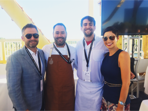 Chrisa Pappas with chefs from Hook and Ladder at the Tower Bridge dinner in Sacramento.