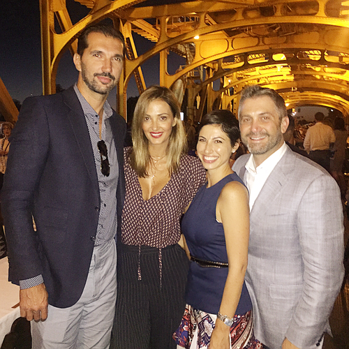 Chrisa Pappas with her husband and friends at the Tower Bridge Dinner in Sacramento.