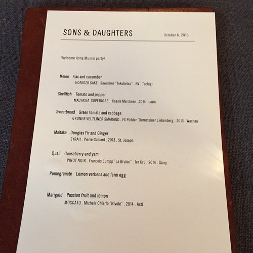 Sons & Daughters SF Dinner menu