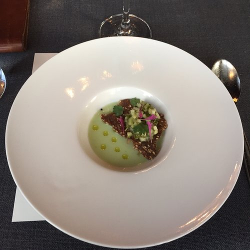 Melon soup with flax cracker and cucumber relish from Sons & Daughters SF.