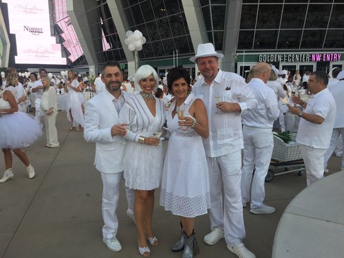With one of Le Diner en Blanc's collaborators, Bobbin Mulvaney and her husband Patrick Mulvaney