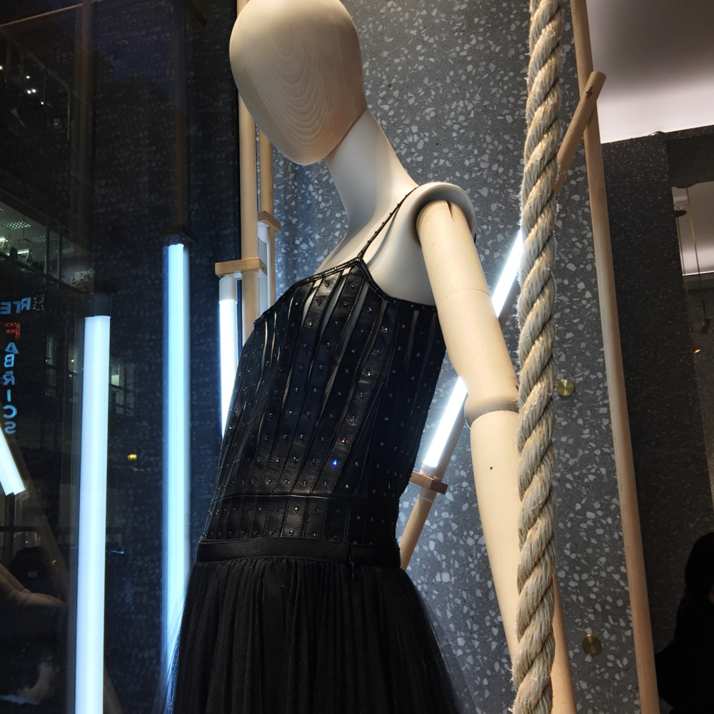 A Valentino corseted dress on display at the Valentino store in San Francisco.