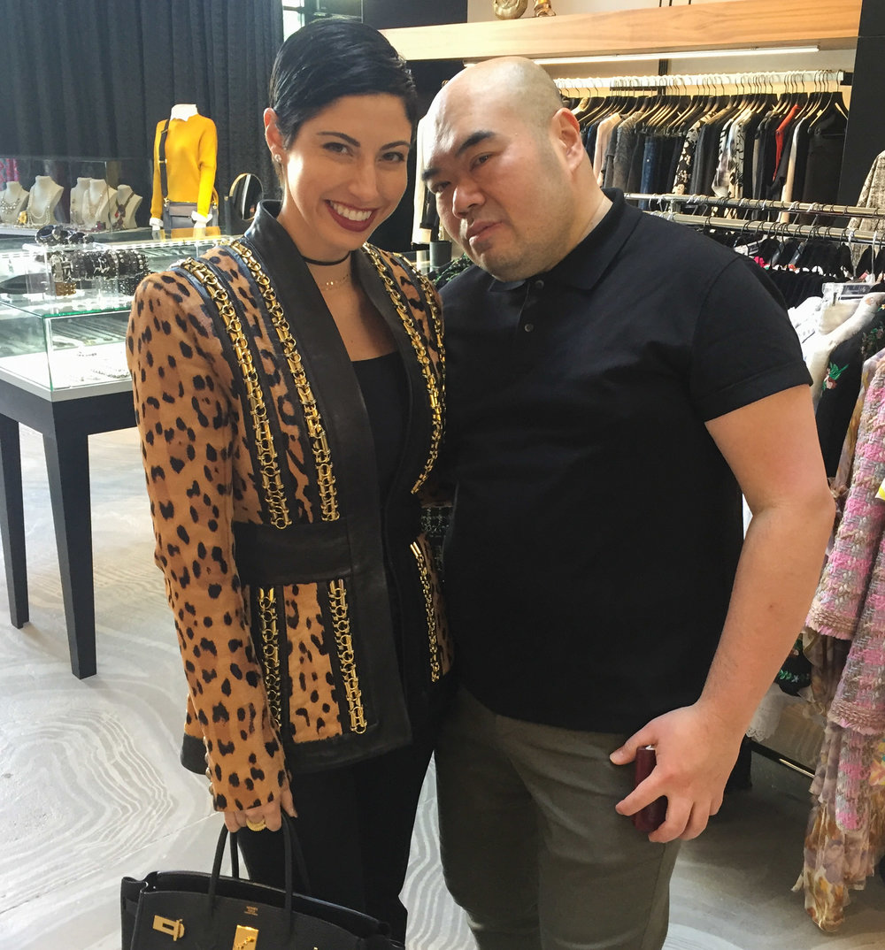 Chrisa Pappas with Andrew Gn at the Andrew Gn Resort 2017 Trunk Show Luncheon.