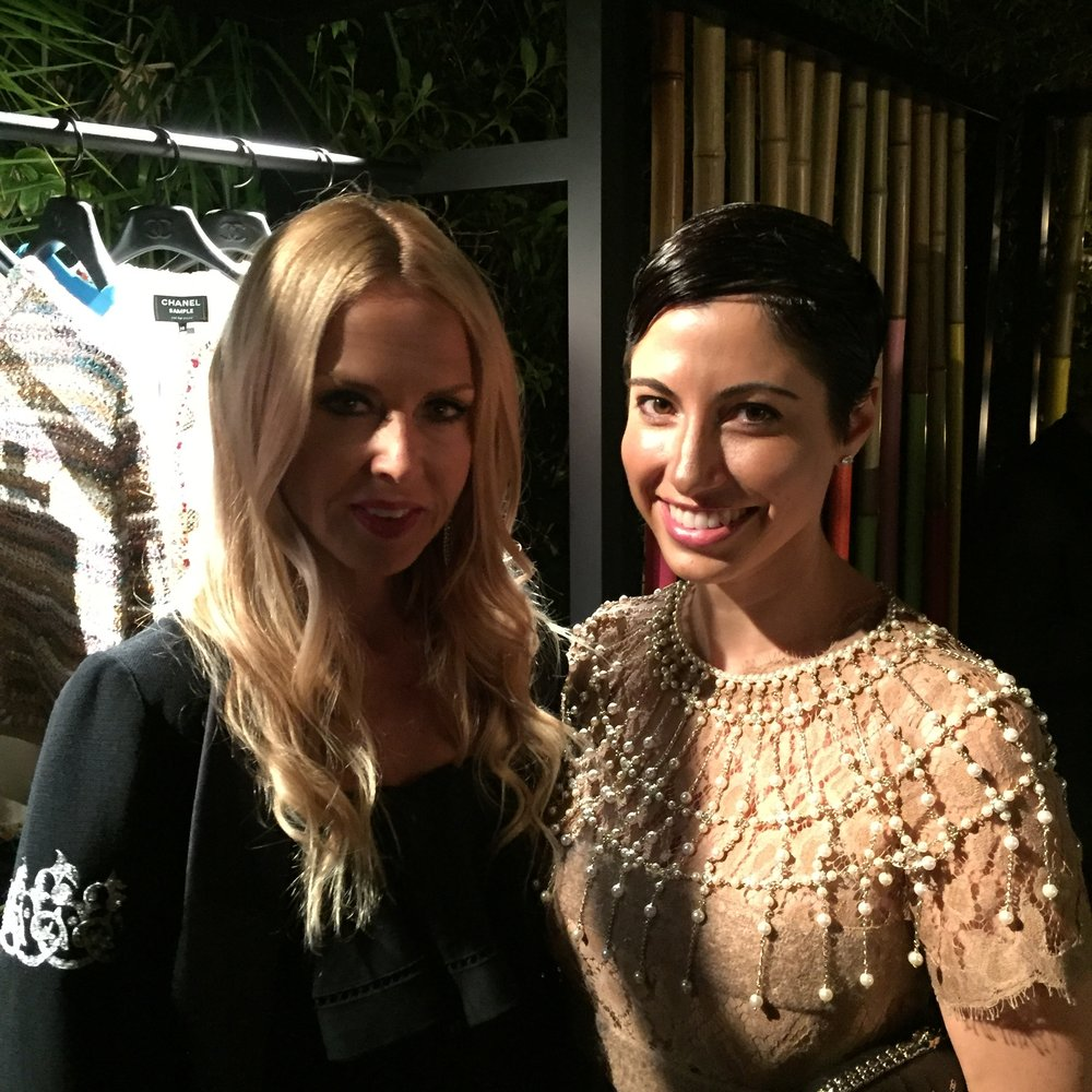 Chrisa Pappas with Rachel Zoe at the Chanel Cuba Party at Chateau Marmont.