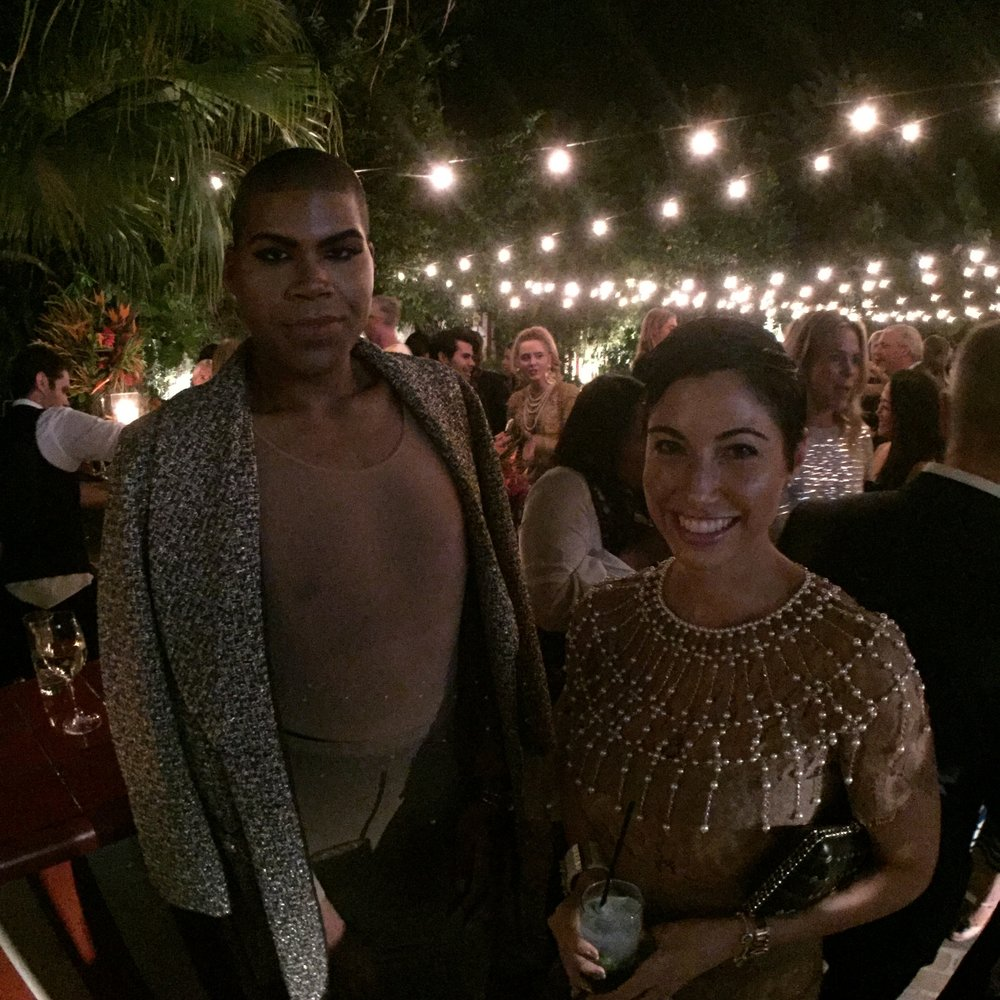 Chrisa Pappas with EJ Johnson at the Chanel Cuba Party at Chateau Marmont.
